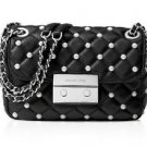 NWT~Michael Kors Pearls Sloan Small Chain Should Bag, Black/Silver   $328