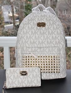 NWT~ Michael Kors Jet Set STUDDED LARGE Backpack PVC/Leather,Wristlet