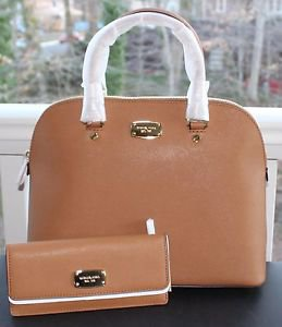 NWT ~Michael Kors Cindy Large Leather Dome Satchel Purse Handbag & Wallet~ Acorn
