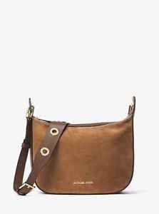 NWT Michael Michael Kors Raven Medium  Suede Messenger Bag Purse ~CARAMEL