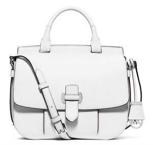 NWT NEW Michael Kors Leather Romy Large Messenger Crossbody Bag - Optic White