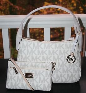 NWT ~Michael Kors Jet Set Item Small Top Zip Shoulder Bag Signature & Wristlet