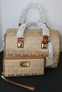 NWT~Michael Kors Grayson LARGE Satchel Handbag Purse and Wristlet/Wallet (CAMEL)