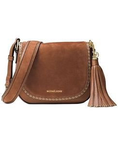 NWT~ MICHAEL KORS BROOKLYN LEATHER & SUEDE MEDIUM PURSE SADDLE BAG~LUGGAGE