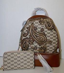 NWT Michael Kors Rhea Medium Leather Paisley STUDIO HERITAGE Backpack & Wristlet