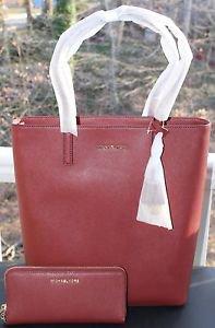 BNWT~Michael Kors Leather Hayley LG N/S  Convertible Tote Bag Purse & Wristlet