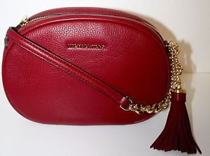 NWT MICHAE KORS LEATHER GINNY CROSSBODY MESSANGER BAG PURSE~CHERRY $228