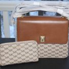 BNWT~  Michael Kors Large LEATHER Natalie Heritage Signature Satchel & Wristlet