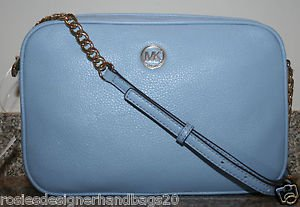 NWTMICHAEL KORS FULTON LG EW PEBBLED LEATHER CROSSBODY/SHOULDER BAG~POWDER BLUE