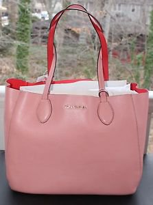 NWT~ Michael Kors Leather E/W Large Mae  REVERSIBLE   Pale Pink/Coral $298