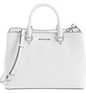 NWT Michael Kors Savannah Large  Saffiano Leather Satchel Bag~OPTIC WHITE~ $368