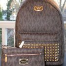 NWT~ Michael Kors Jet Set STUDDED LARGE Backpack PVC/Leather & Wristlet