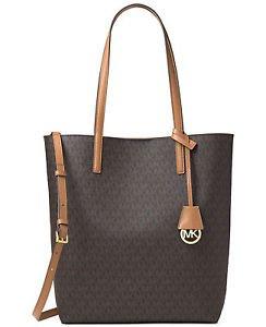 Michael Kors Hayley MK Signature Large Convertible Tote Handbag ~Brown ~BNWT