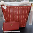 BNWT~Michael Kors  Brooklyn Grommet Medium Feed Bag & Wristlet *BRICK*