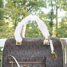 NWT~Michael Kors LARGE MK Signature PVC  Satchel/Crossbody and LG WRISTLET~BROWN