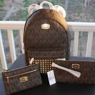 NWT~ Michael Kors Jet Set STUDDED LARGE Backpack PVC/Leather & Wristlet & Clutch