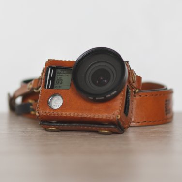 GoPro Hero 4 (Silver edition) handmade brown leather case