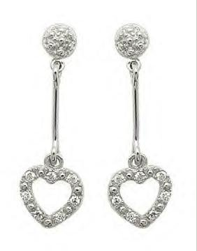 Hanging Heart CZ Earrings