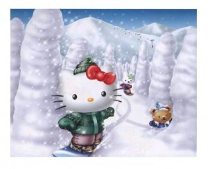Hello Kitty Snowboarding