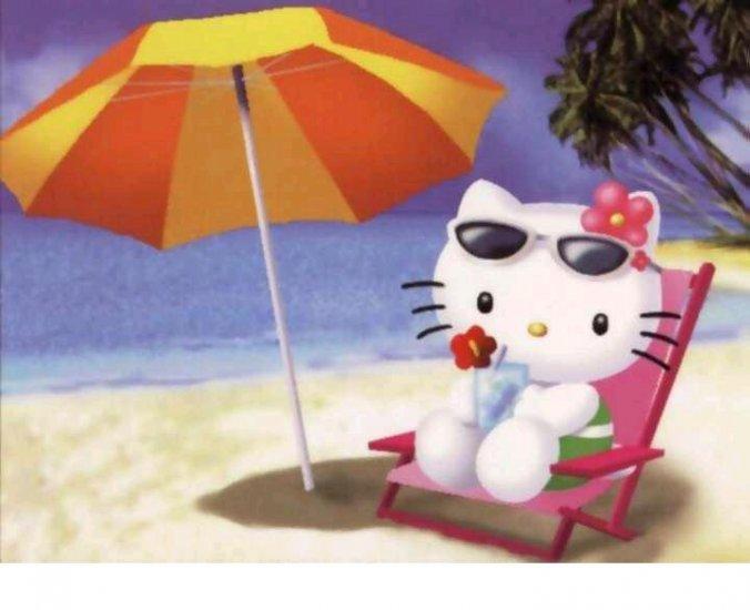 Hello Kitty Suntanning on the Beach