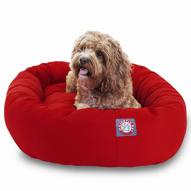 Majestic Pet Products 32-inch Red Bagel Dog Bed