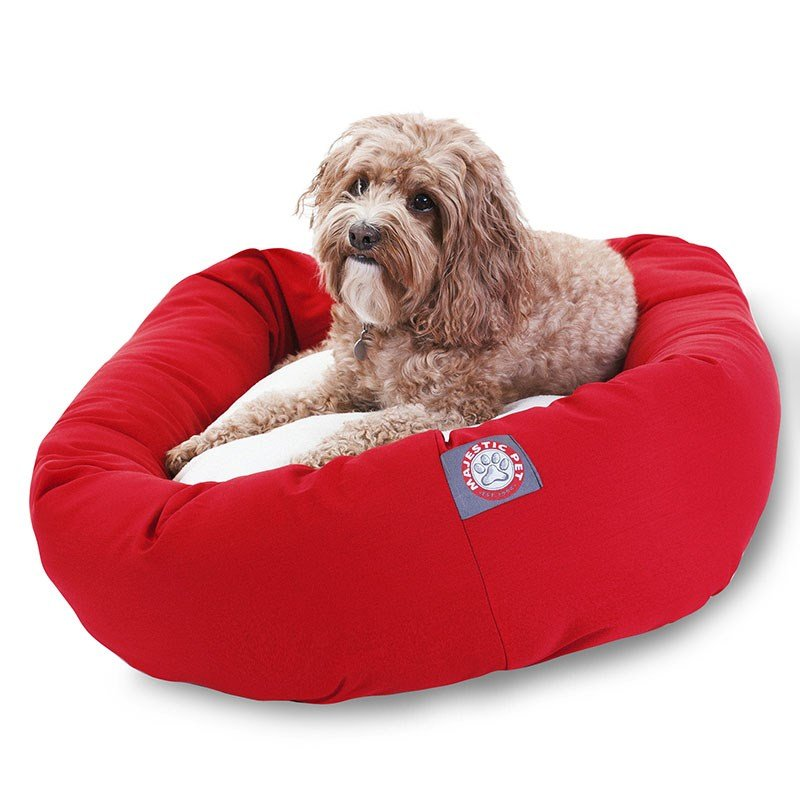 Majestic Pet Products 32-inch Red & Sherpa Bagel Dog Bed