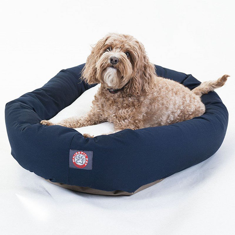 Majestic Pet Products 32-inch Blue & Sherpa Bagel Dog Bed