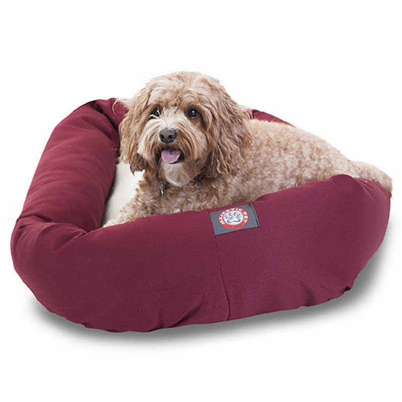 Majestic Pet Products 32-inch Burgundy & Sherpa Bagel Dog Bed