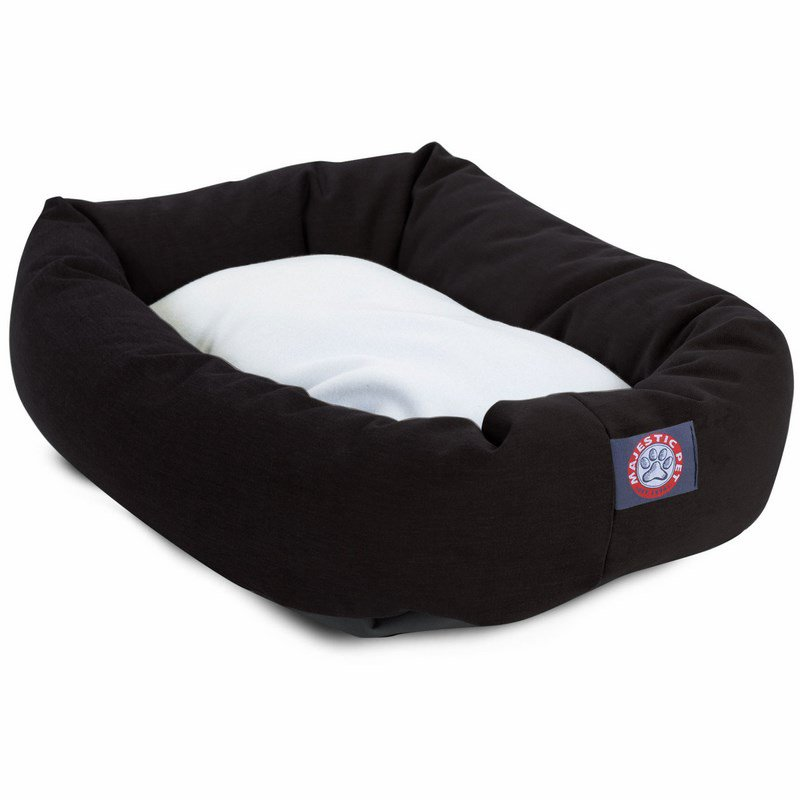 Majestic Pet Products 40-inch Black & Sherpa Bagel Bed