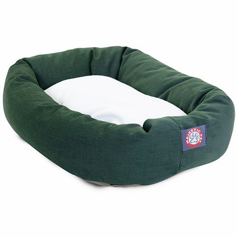 Majestic Pet Products 40-inch Green & Sherpa Bagel Bed