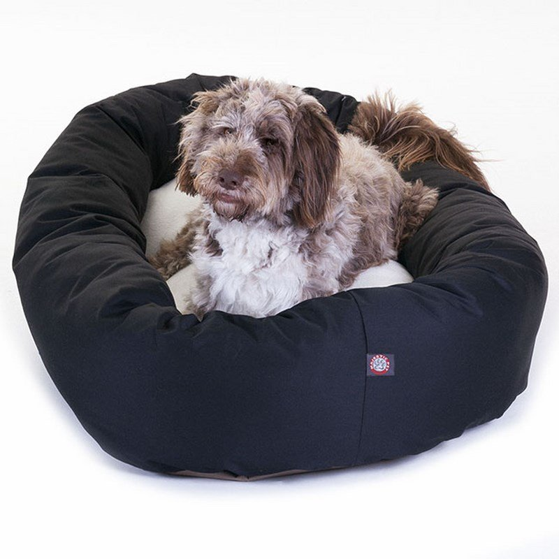 Majestic Pet Products 52-inch Black & Sherpa Bagel Bed