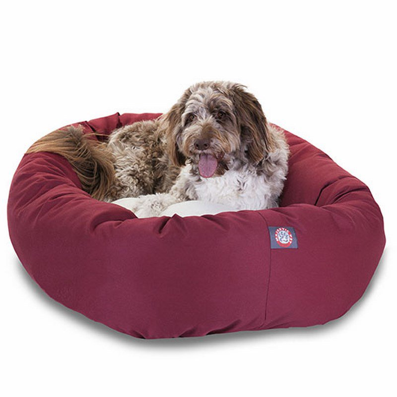 Majestic Pet Products 52-inch Burgundy & Sherpa Bagel Bed
