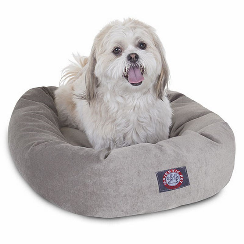 Majestic Pet Products 24-inch Vintage Villa Collection Micro-Velvet Bagel Bed