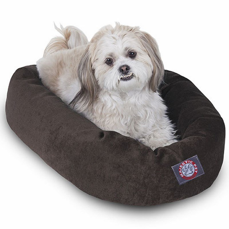 Majestic Pet Products 24-inch Storm Villa Collection Micro-Velvet Bagel Bed