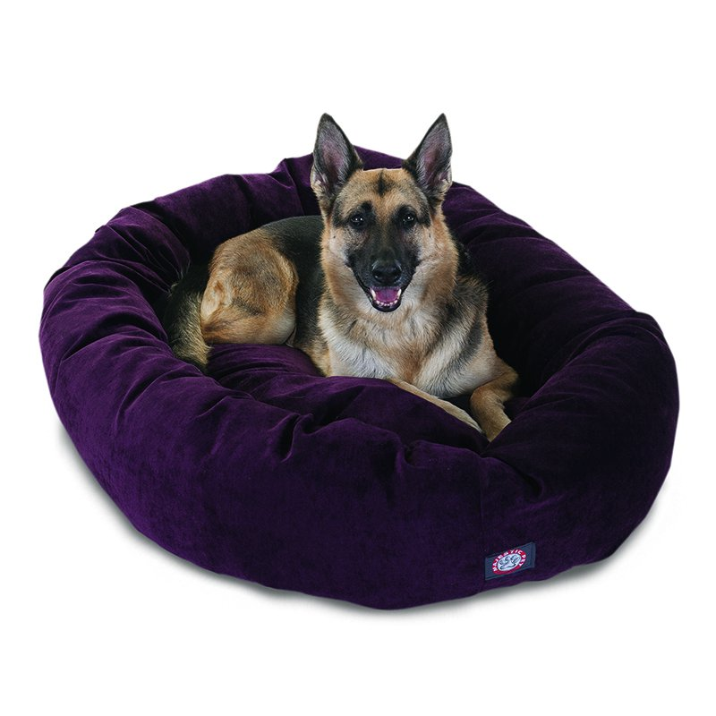 Majestic Pet Products 52-inch Aubergine Villa Collection Micro-Velvet Bagel Bed
