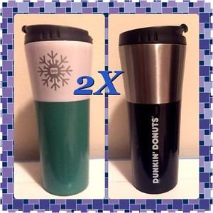 2X Brand New Dunkin Donuts 15 oz Coffee Travel Mug Tumbler