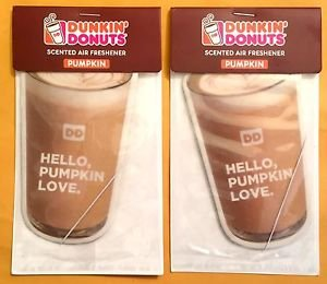 2X Dunkin Donuts Pumpkin Flavored Scented Car Air Freshener