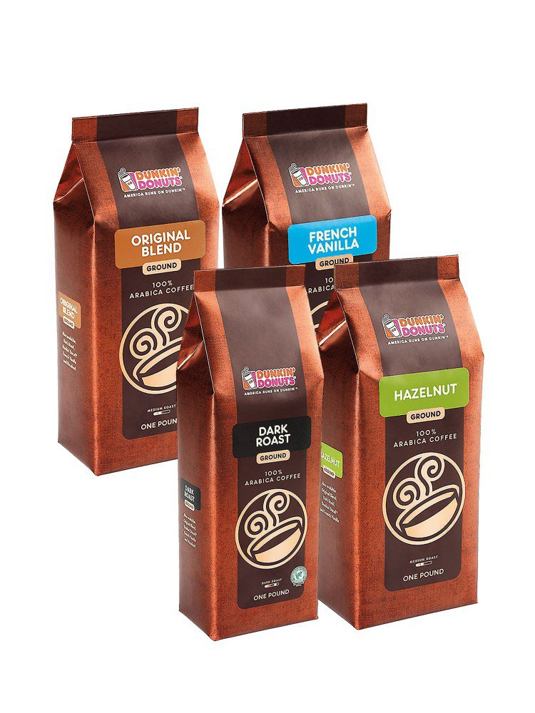 Dunkin Donuts Original, French Vanilla, Hazelnut, Dark Roast Ground Coffee 3LB