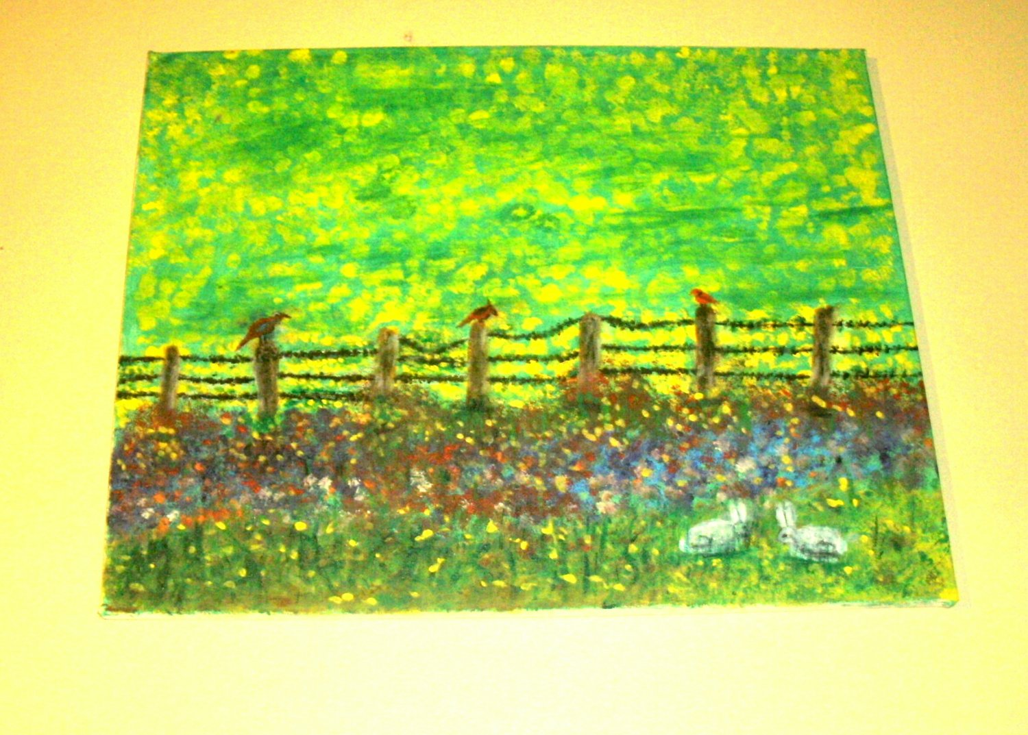 Flowers along Fence with Birds & Rabbits/Impressionism/Acrylic/Original/
