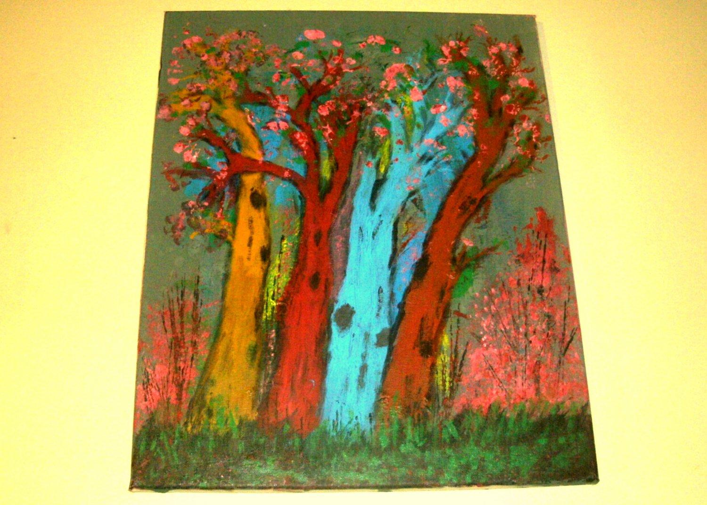Four Multi-Colored Trees/Acrylic/Expressionism/Original/