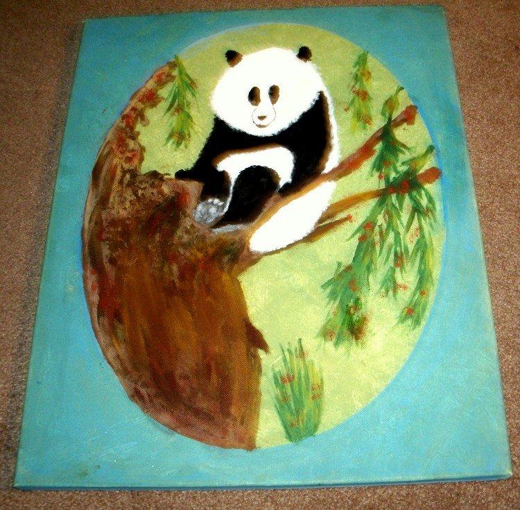 A PANDA SITTING ON A TREE LIMB/ACRYLIC/ORIGINAL/NEW/