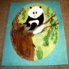A PANDA SITTING ON A TREE LIMB/ACRYLIC/ORIGINAL/NEW/