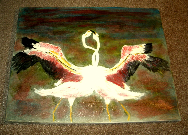 Flamingos Necking/Acrylic/Original/New/