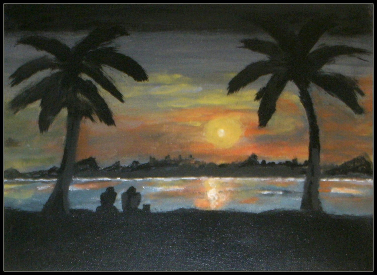 SILHOUETTE SUNSET & PALM TREES/ ACRYLIC/NEW/