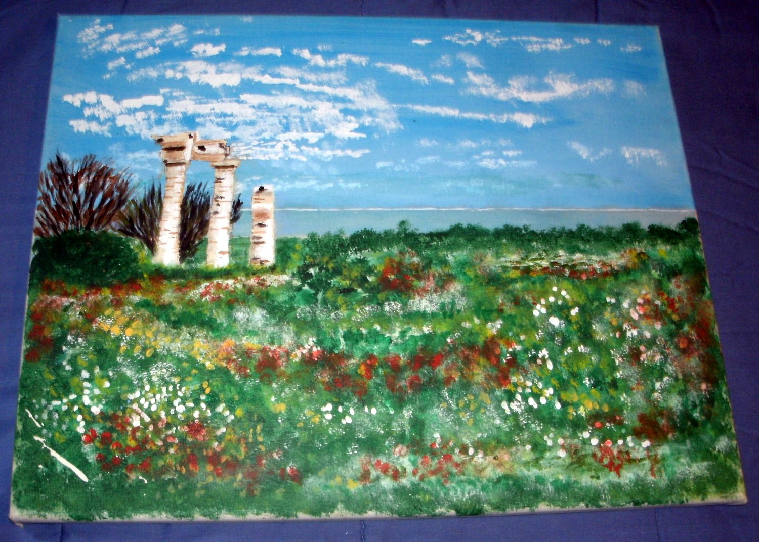A SMALL ANCIENT RUIN IN ATHENS/ORIGINAL/ACRYLIC/