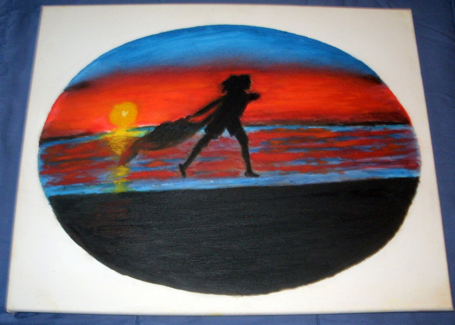 AN OVAL PAINTING/ A SILHOUETTE OF A WOMAN DANCING IN THE SUNSET/OIL/NEW/