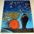 Floral in a Black Vase & Orange Bowl/Acrylic/Impressionism/New/