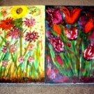 Two Floral Paintings on One Canvas/Oil & Acrylic/New/
