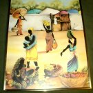 AFRICAN ART/WOMEN AT A MARKETPLACE/PRINT/FRAMED WITH GLASS