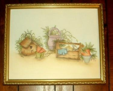 GARDENING/OIL PAINTING/FRAMED/